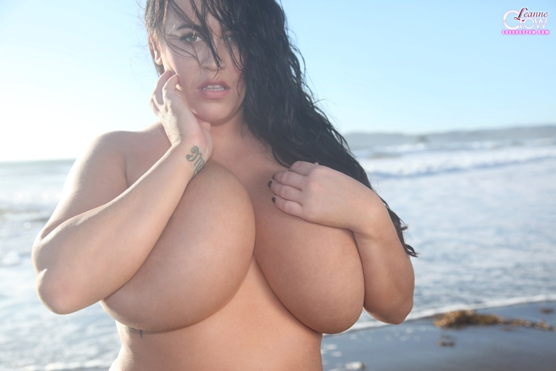 leanne crow yellow beach boobs