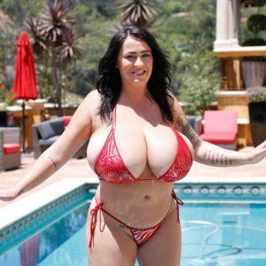 leanne crow red bikini